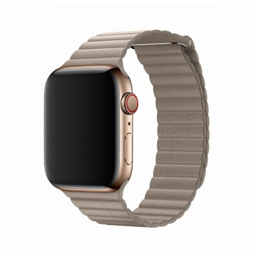 Devia Bőrhatású mágneses szíj BÉZS Apple Watch 42 / 44 mm